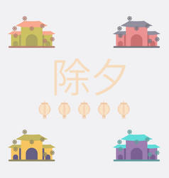 Chinese house and snow vector