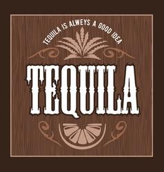 Vintage alcohol tequila drink bottle label vector