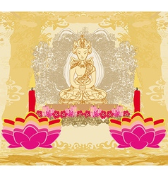 Lotus oil lamp with buddha card vector