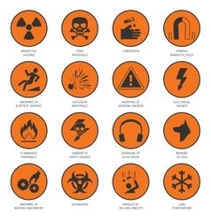 Hazard icons black vector