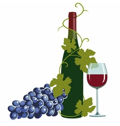 Wine bottlewine glass and grapes vector