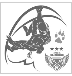 Climbers and mountain climbing emblem vector
