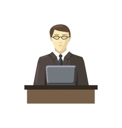 Businessman using his laptop icon cartoon style vector