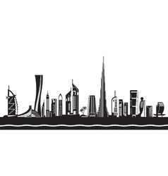 Dubai cityscape by day vector
