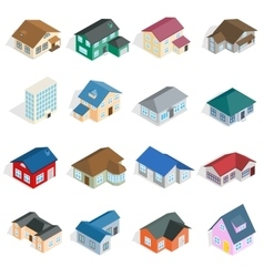 Town house cottage set isometric 3d style vector