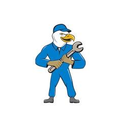 American bald eagle mechanic spanner cartoon vector