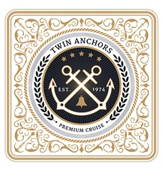 Nautical twin anchors retro card vector