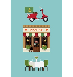 Italian pizzeria icon set vector