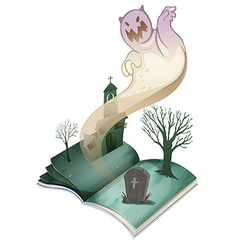 A book with an image of a graveyard vector image vector image