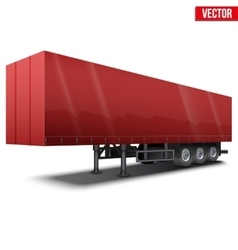Blank red parked semi trailer vector image vector image
