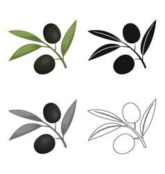 branch of olives icon in cartoon style isolated on vector image vector image