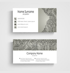 Business card with abstract printed circuit board vector