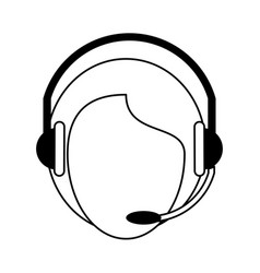 Call center person with headset icon image vector