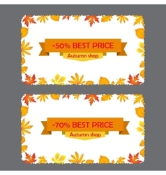 Card with discount of 50 70 percent autumn flyer vector