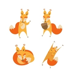 Cartoon cute squirrel animal set vector