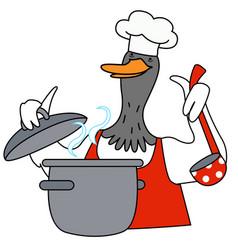 Cartoon duck chef character vector