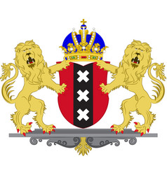 coat of arms of amsterdam of netherlands vector image vector image