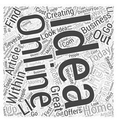 Creating online home business ideas Word Cloud vector image