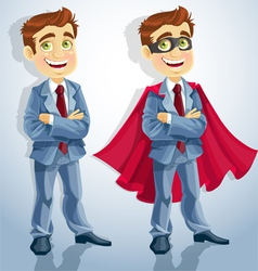 Cute businessman dressed as a superhero vector