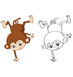Doodle animal character for monkey flipping vector