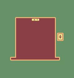 elevators door sign cordovan icon and vector image