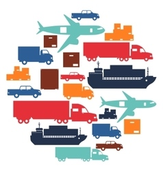 Freight cargo transport icons background in flat vector
