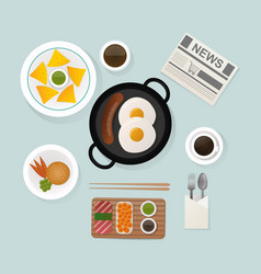 Healthy breakfast scrambled eggs lunch food top vector