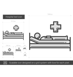 Hospital bed line icon vector