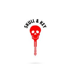 Human skull silhouettes and key iconhuman skull vector