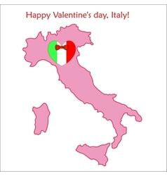 Map of Italy with flag and heart vector image vector image