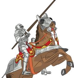 Medieval knight in armor on horseback vector
