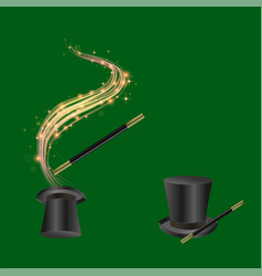 Realistic magic wand and hat vector