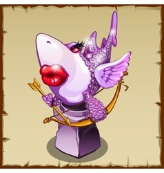 Romantic statue shark with diamonds and red lips vector