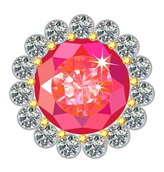 Ruby round brooch vector image vector image