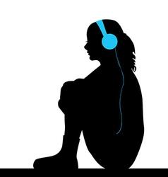 Sad girl listening music vector image
