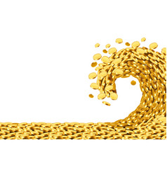 the wave of money huge tsunami wave of gold coins vector image