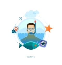 Travel on the sea flat icons vector