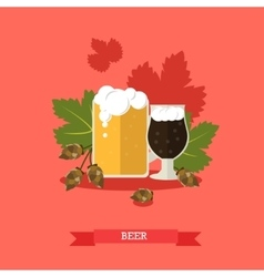 Two beer mugs with hops vector