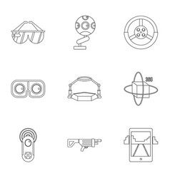 Vr innovation icons set outline style vector