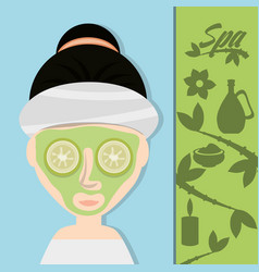 Woman with cucumber mask and herbal medicine vector