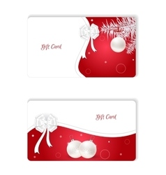 Set of two horizontal white christmas gift card vector