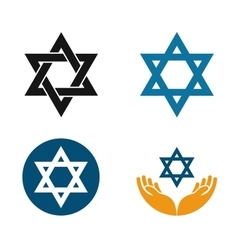 Star of david logo judaism or jewish set vector
