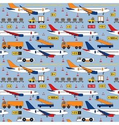 Seamless pattern with airplanes and airport vector