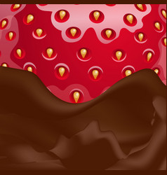 Melted chocolate and strawberries vector