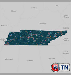 Map of state tennessee usa vector