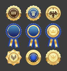 Blue award rosettes insignia and heraldic medals vector