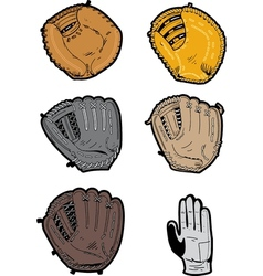 Assorted baseball gloves vector
