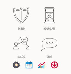 Dialog chat speech bubbles and shield icons vector
