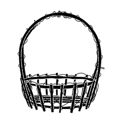Wicker basket silhouette vector