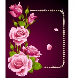 Rose and pearls frame vector